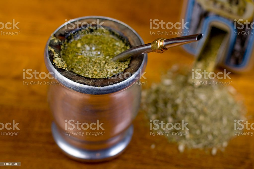 Yerba mate and a spoon in a pot stock photo
