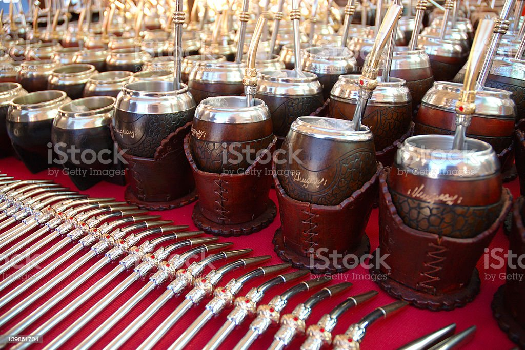 Yerba Mate Cups and Straws royalty-free stock photo