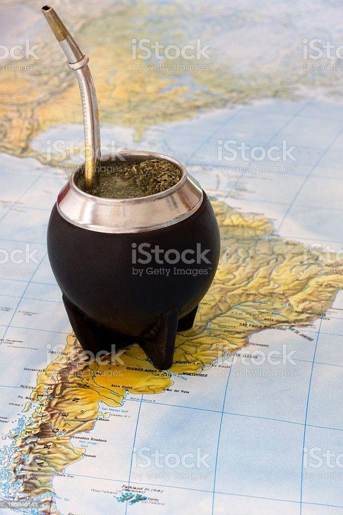 Yerba mate drink on map stock photo