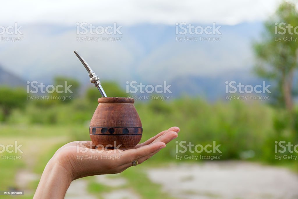 Yerba mate in a traditional calabash gourd, hand, space for stock photo