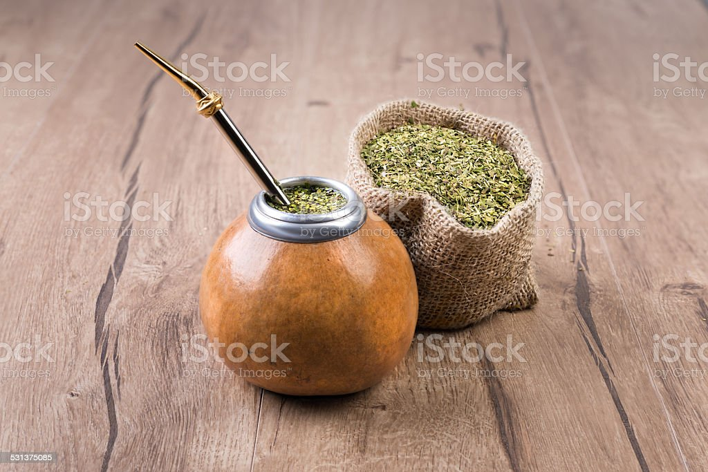 Yerba mate in a traditional calabash gourd stock photo