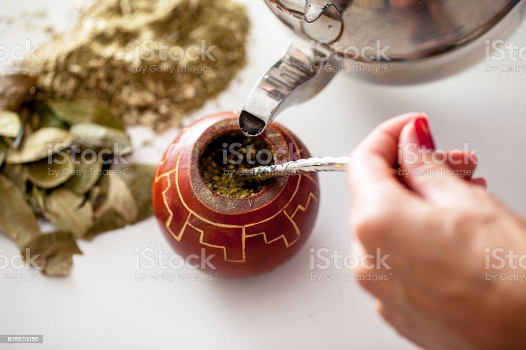 Yerba Mate Tea Drink Preparation stock photo