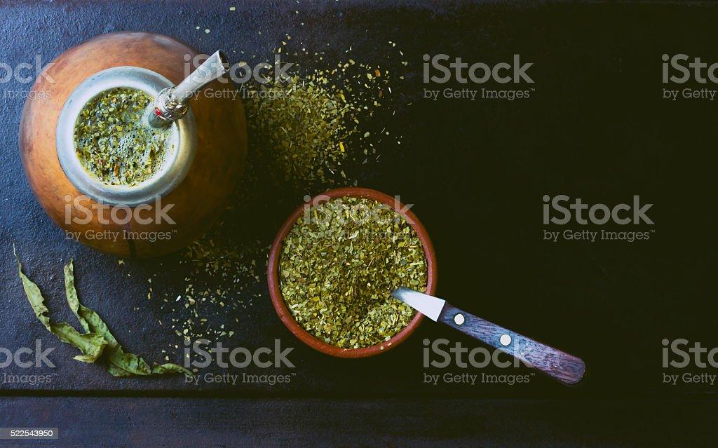 Yerba mate traditional latin american herb tea. Top view stock photo
