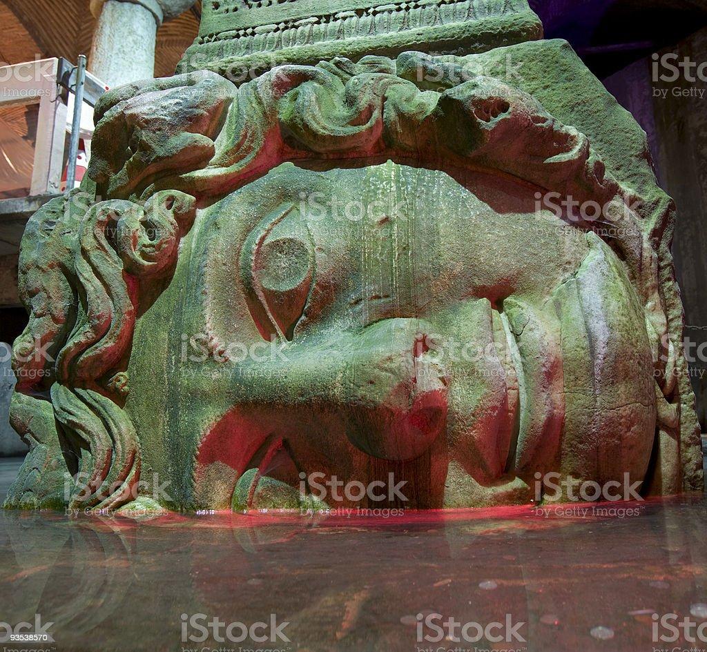 Yerebatan cistern (Medusa) stock photo
