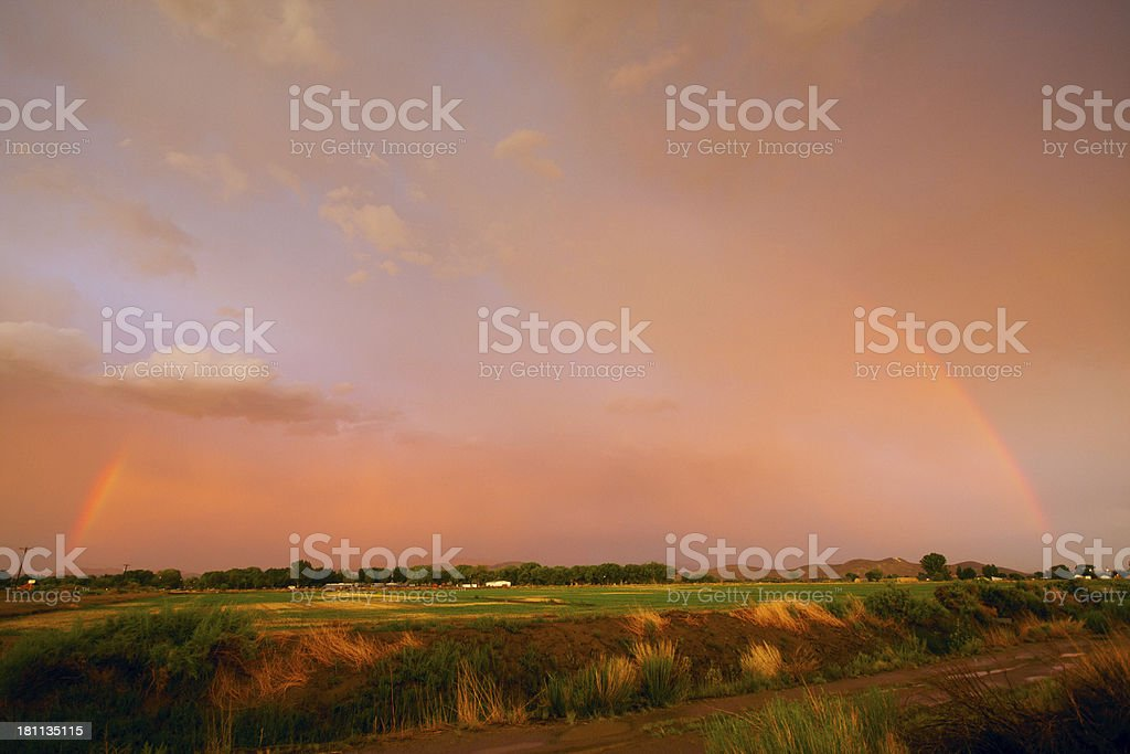 Yerington Full Rainbow stock photo
