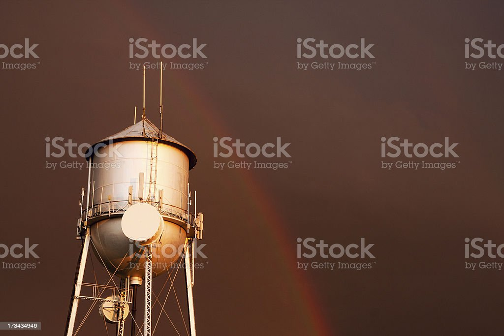 Yerington Water Tower Rainbow stock photo