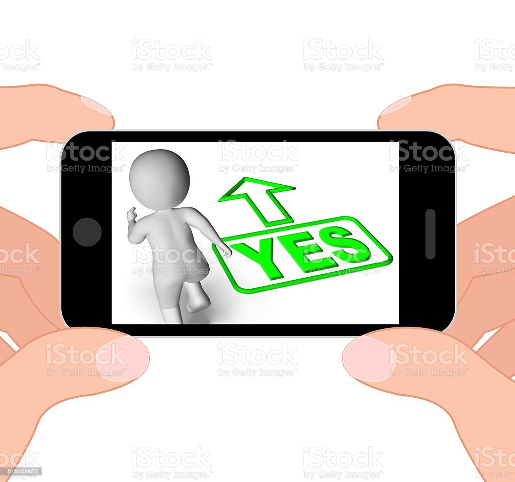 Yes And 3D Character Displays Affirm Agree Ok stock photo