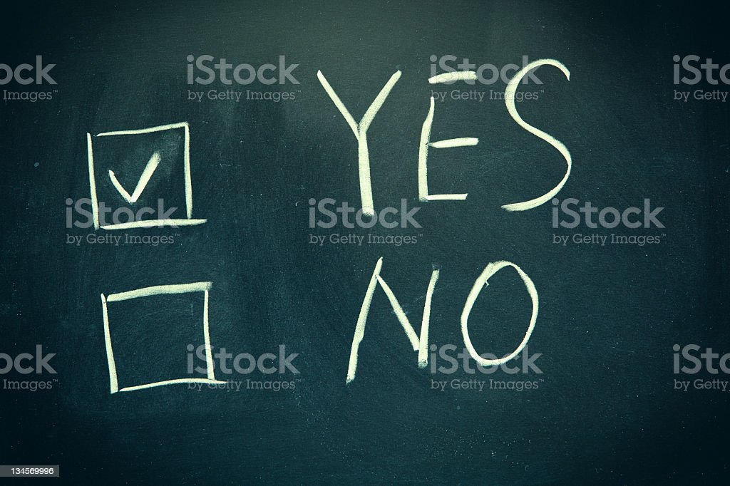 Yes and No check boxes written on a blackboard. royalty-free stock photo