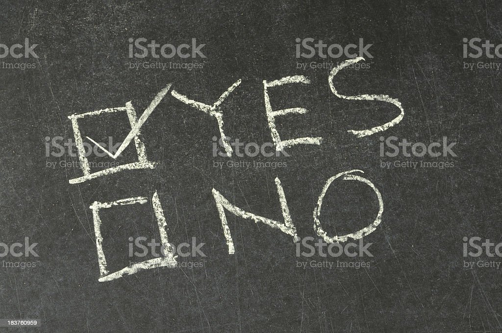 Yes and No Checkbox Written on Blackboard royalty-free stock photo