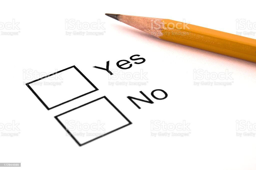 Yes and No Checkboxes on White Background royalty-free stock photo