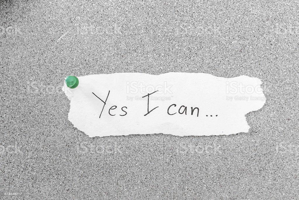 Yes I Can, Motivation Phrase stock photo