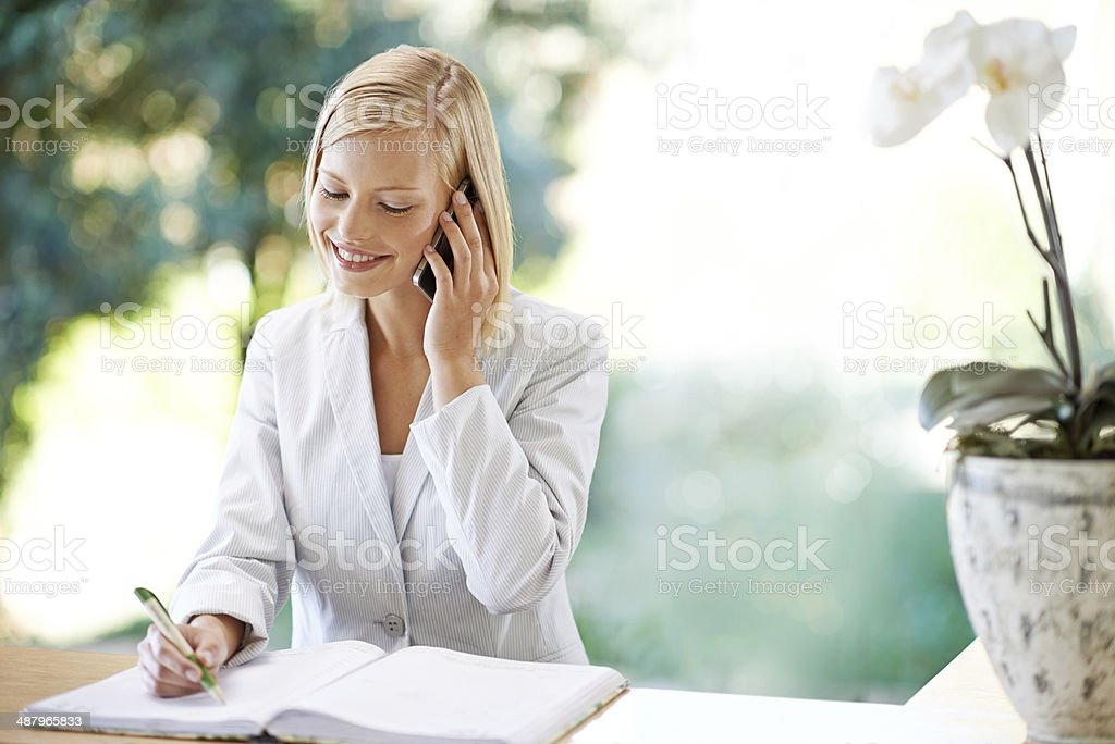 Yes, I can pencil you in for half an hour? stock photo