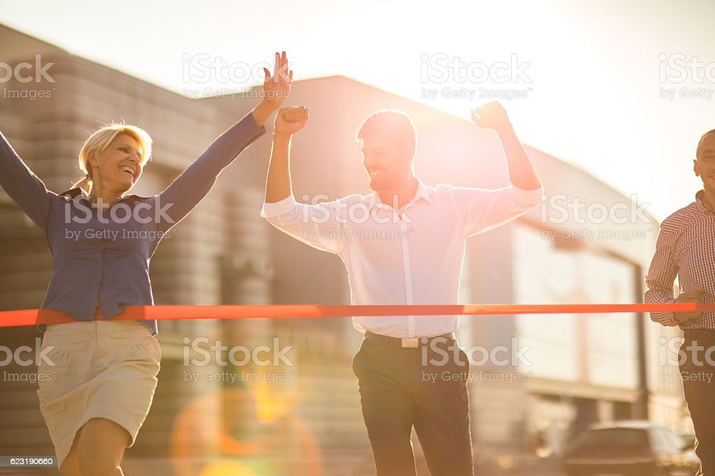Yes, I have finished the race before you! stock photo