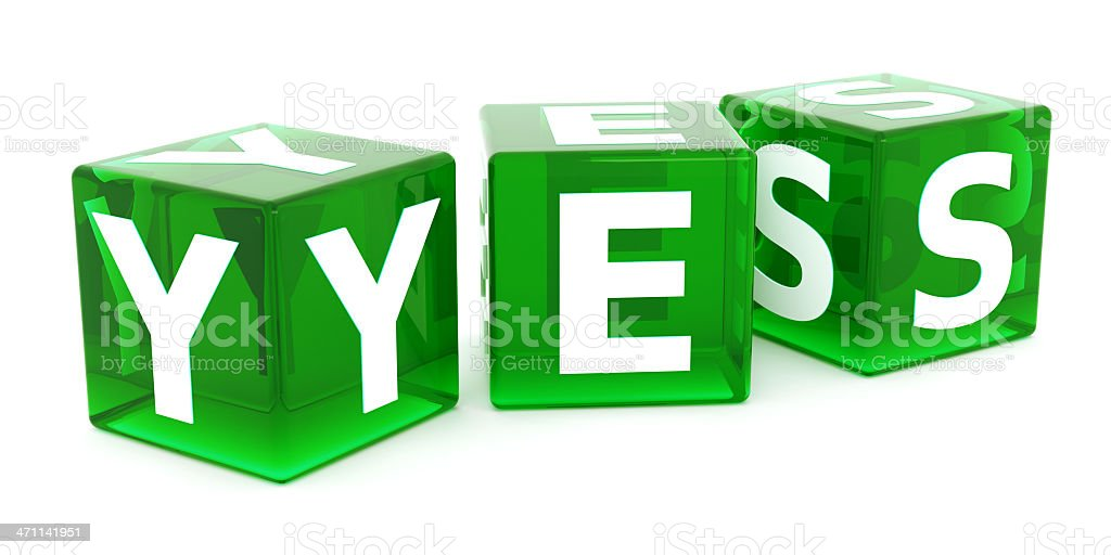 3D Yes in Green Dice royalty-free stock photo