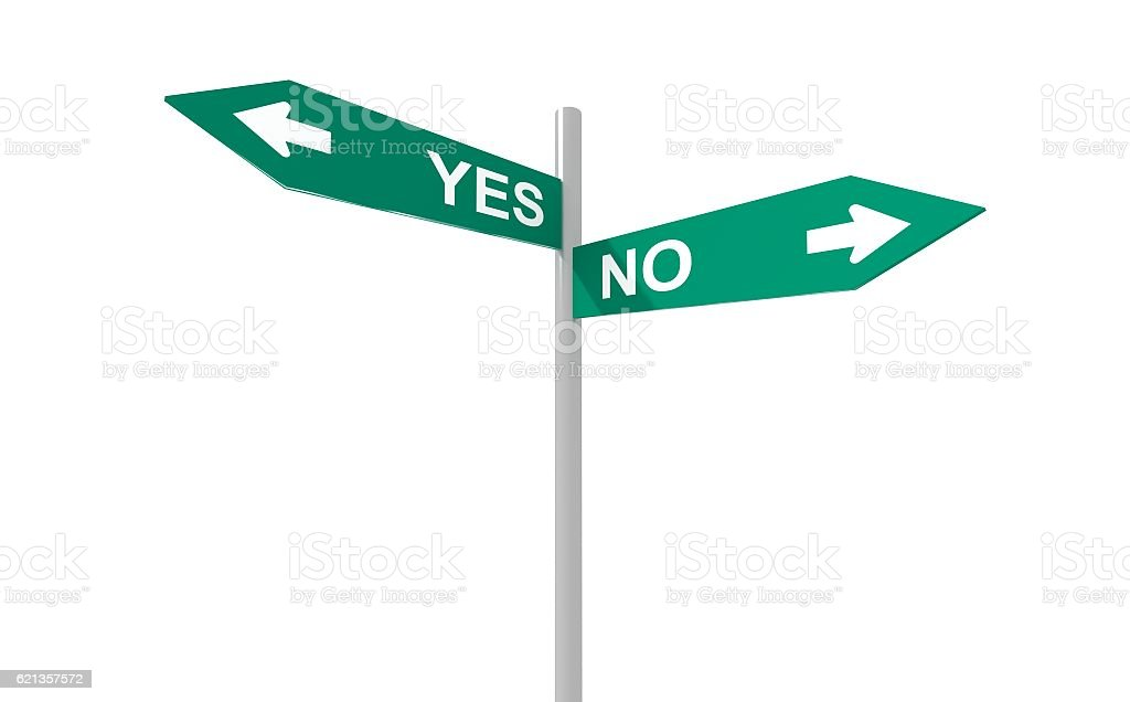 Yes no direction sign choice concept stock photo
