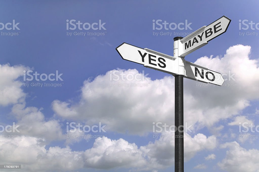 Yes No Maybe signpost royalty-free stock photo