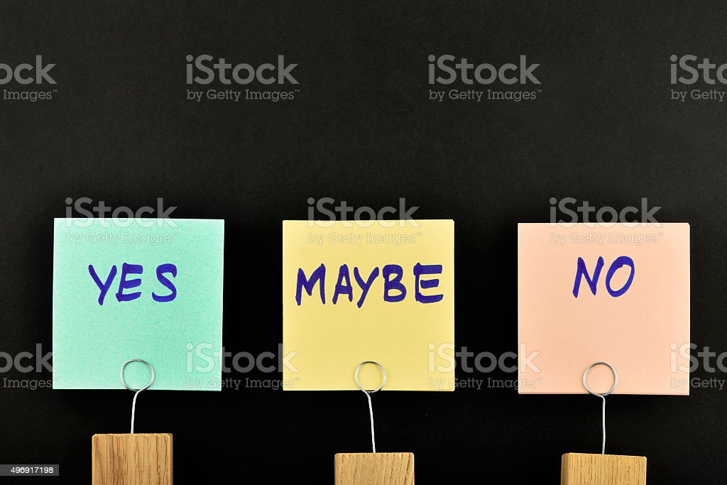 Yes, no, maybe, three paper notes on black for presentation royalty-free stock photo