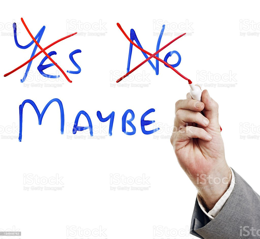 yes no or maybe indecision in the office stock photo 134948763 | istock