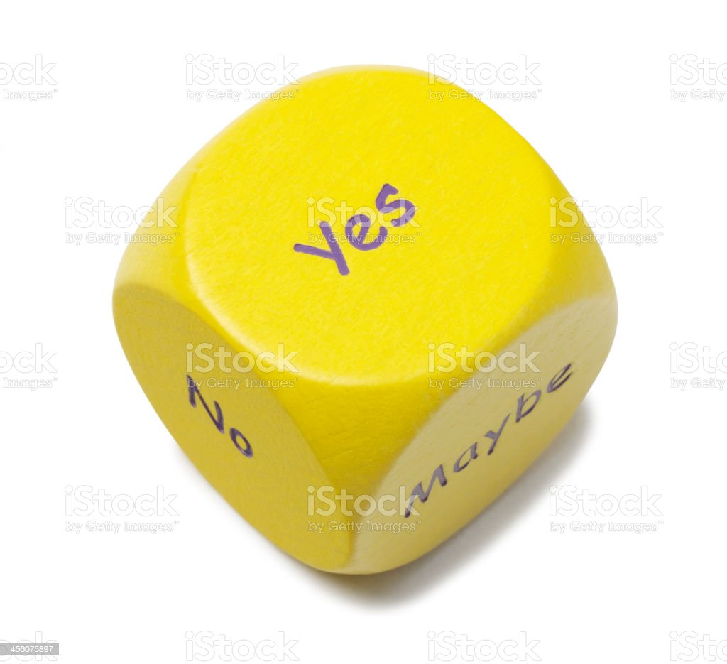 Yes on the Roll of a Yellow Dice royalty-free stock photo