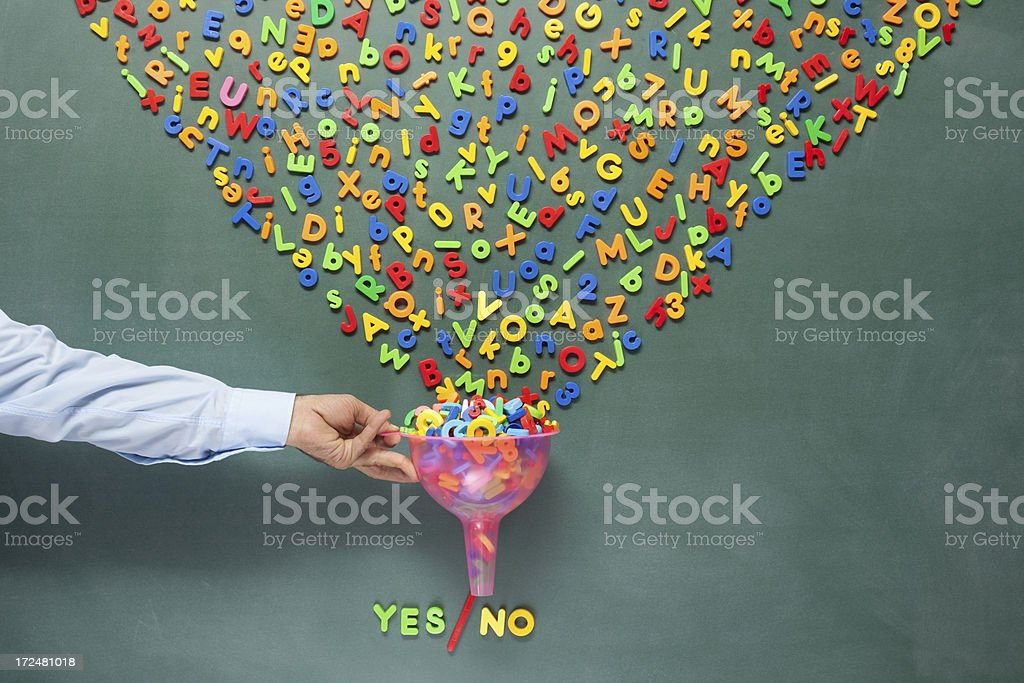 Yes or no answers derived from chaos of knowledge stock photo