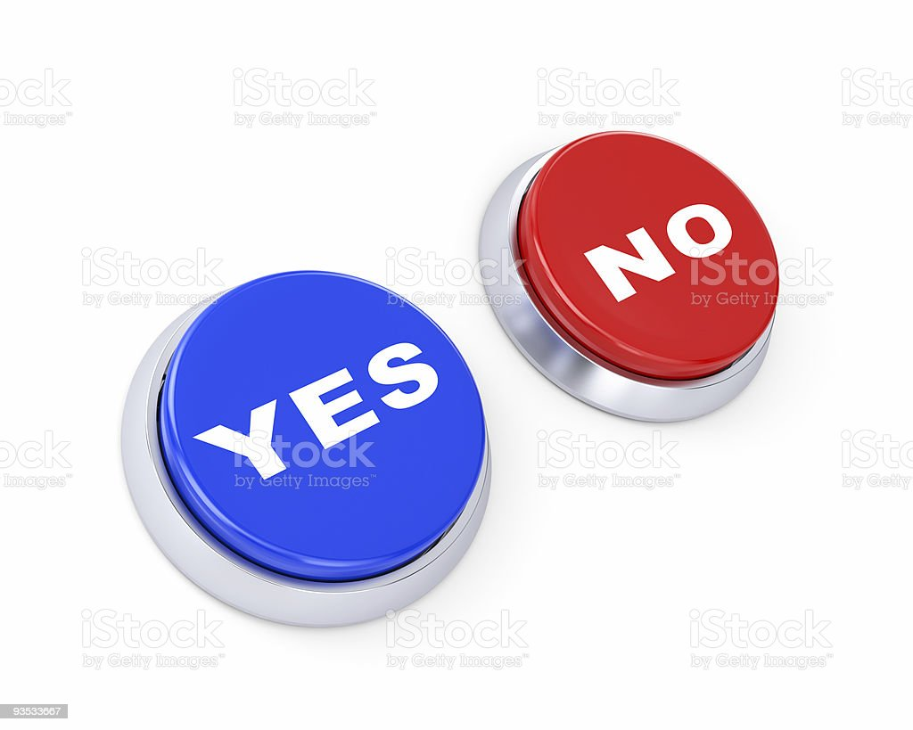 Yes or no buttons. Make the choice royalty-free stock vector art