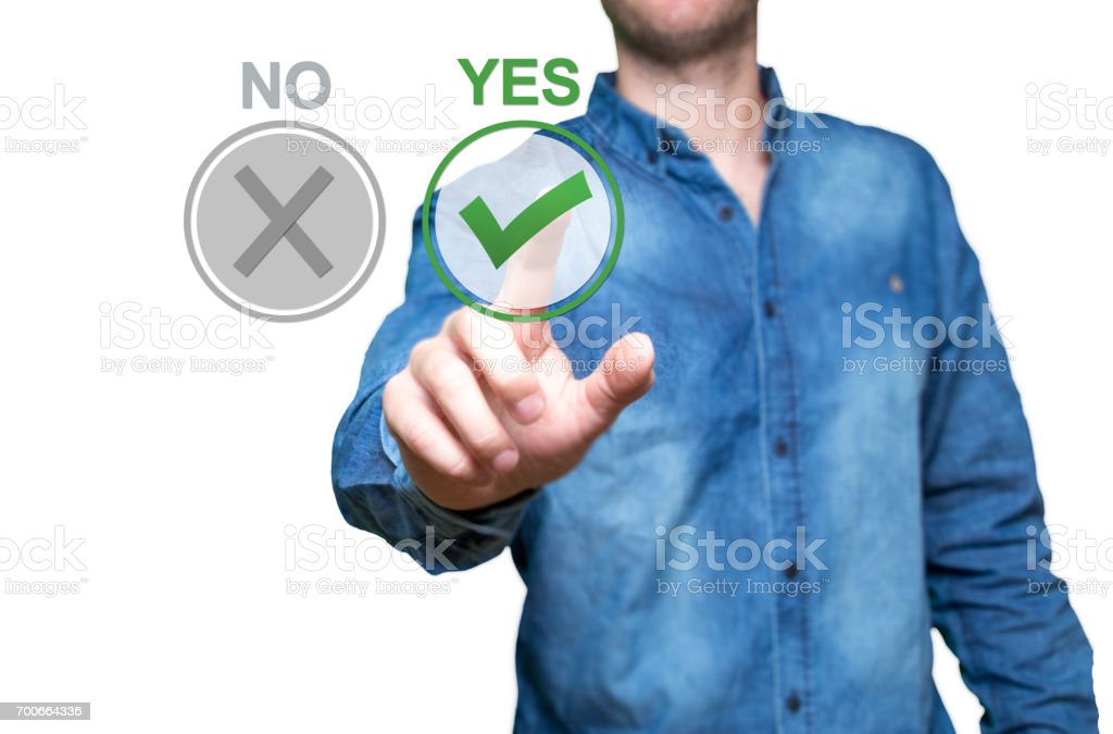 Yes or No concept image. Yes and no buttons on the virtual screen. Person thinking over the choice of Yes or no. Concept background for theme voting, choice, question, referendum. Select Yes button. stock photo