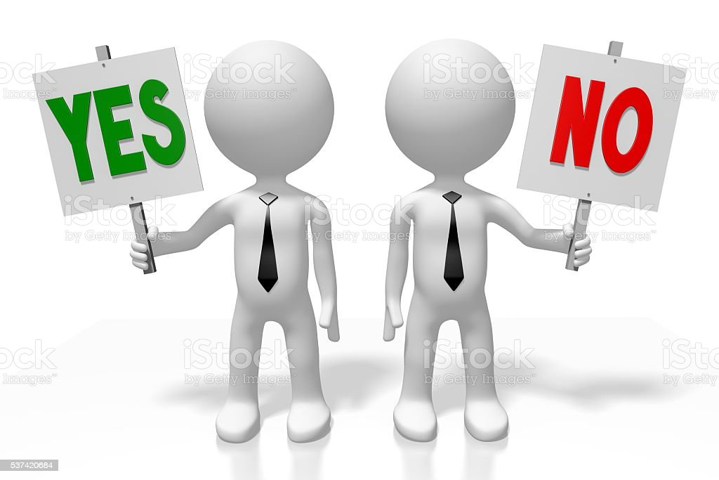 3D yes or no concept stock photo