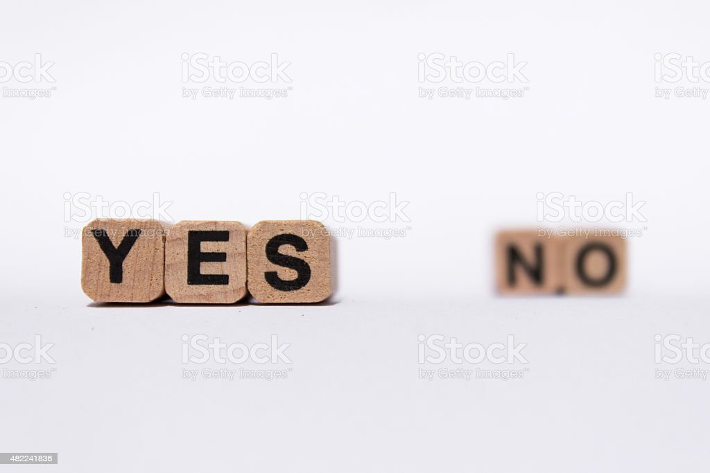 yes or no - question answer text stock photo
