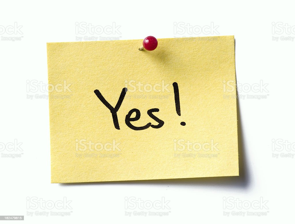 yes! post-it. royalty-free stock photo