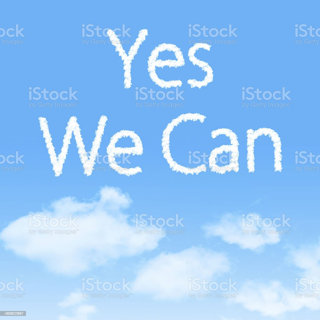 Yes We Can cloud icon with design stock photo