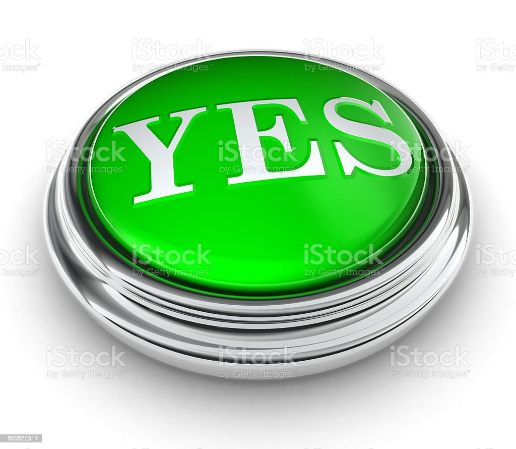 yes word on green button stock photo
