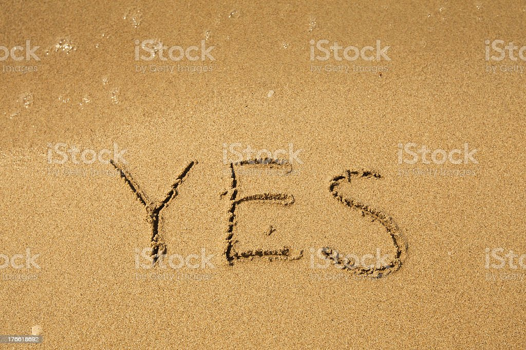 Yes - written in sand on beach texture royalty-free stock photo