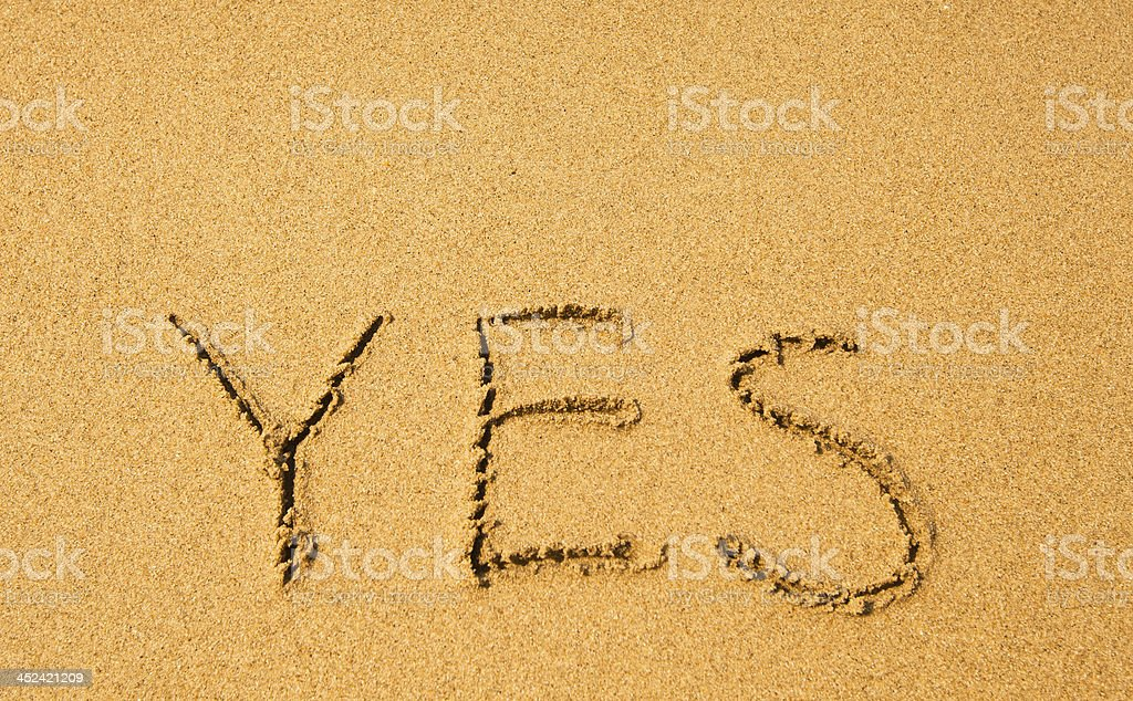 Yes - written in sand texture on the beach. stock photo