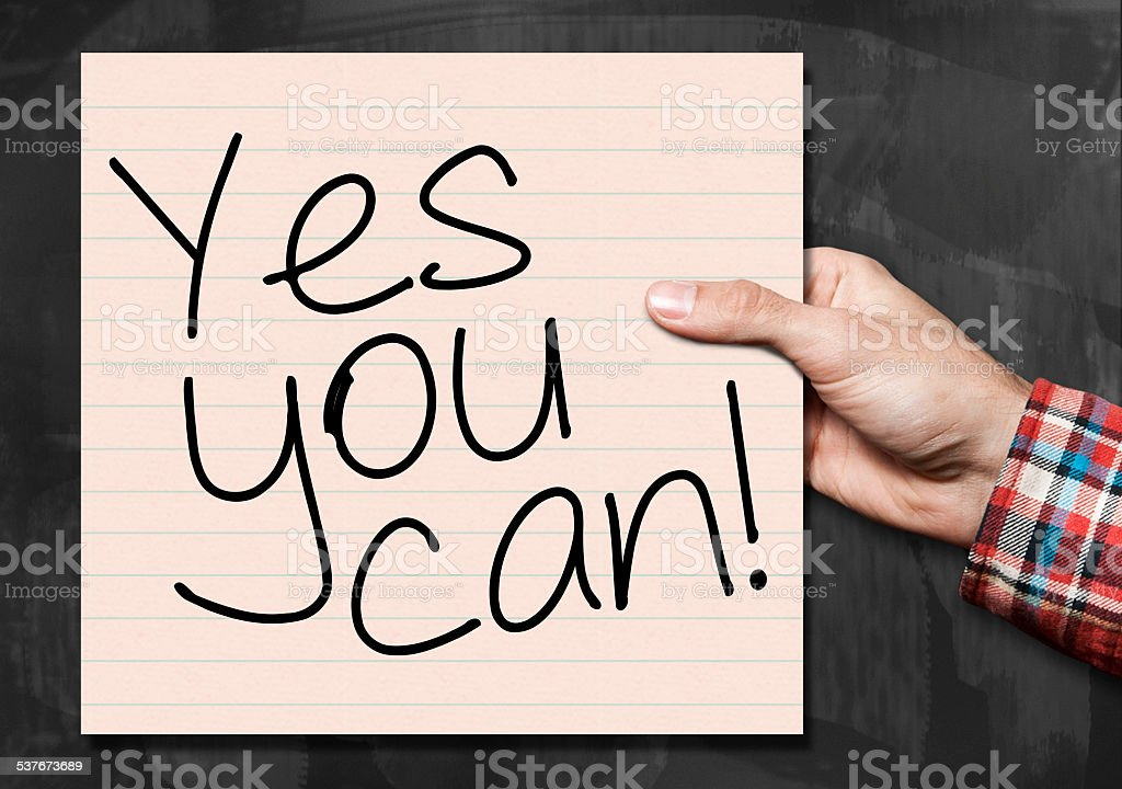 Yes you can / Blackboard concept (Click for more) stock photo