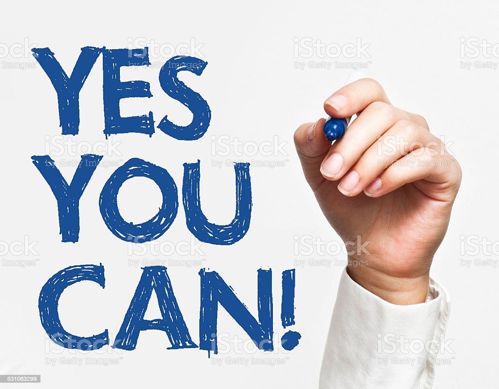 Yes you can (Click for more) stock photo
