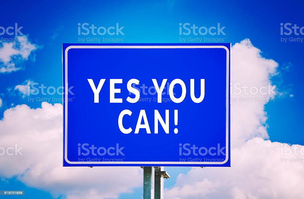 Yes You Can! road sign with cloud background stock photo