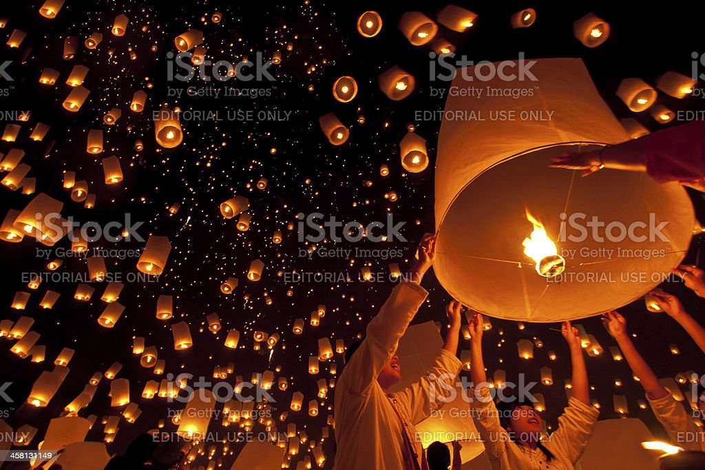 Yi Peng festival in Thailand stock photo