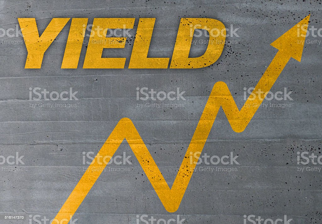 yield graph concept on cement texture background stock photo
