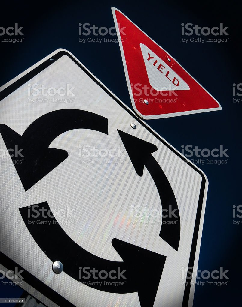 Yield in Roundabout stock photo
