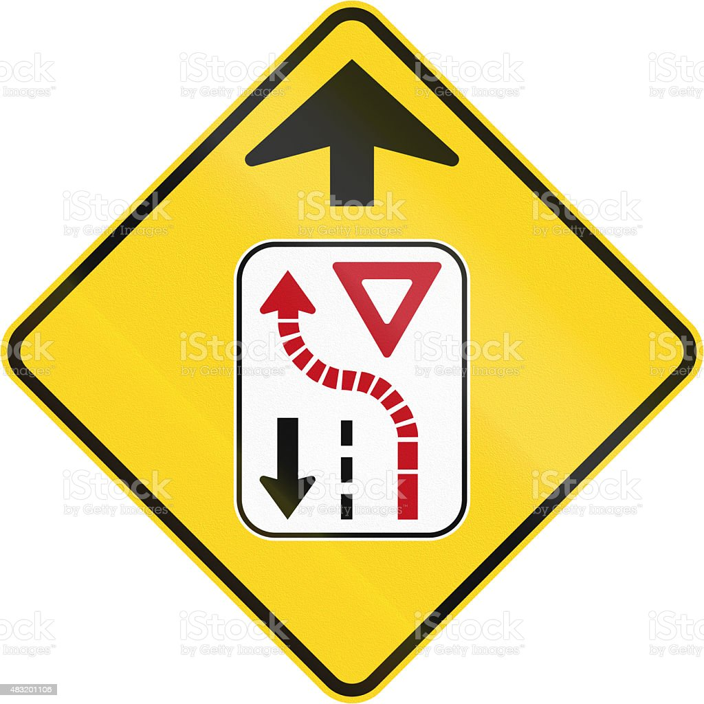 Yield To Oncoming Traffic in Canada stock photo