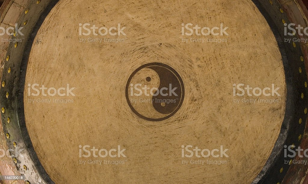 Yin and Yang drum stock photo