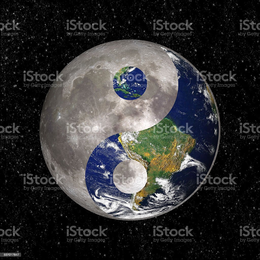 Yin Yang and tao symbol with earth and moon stock photo