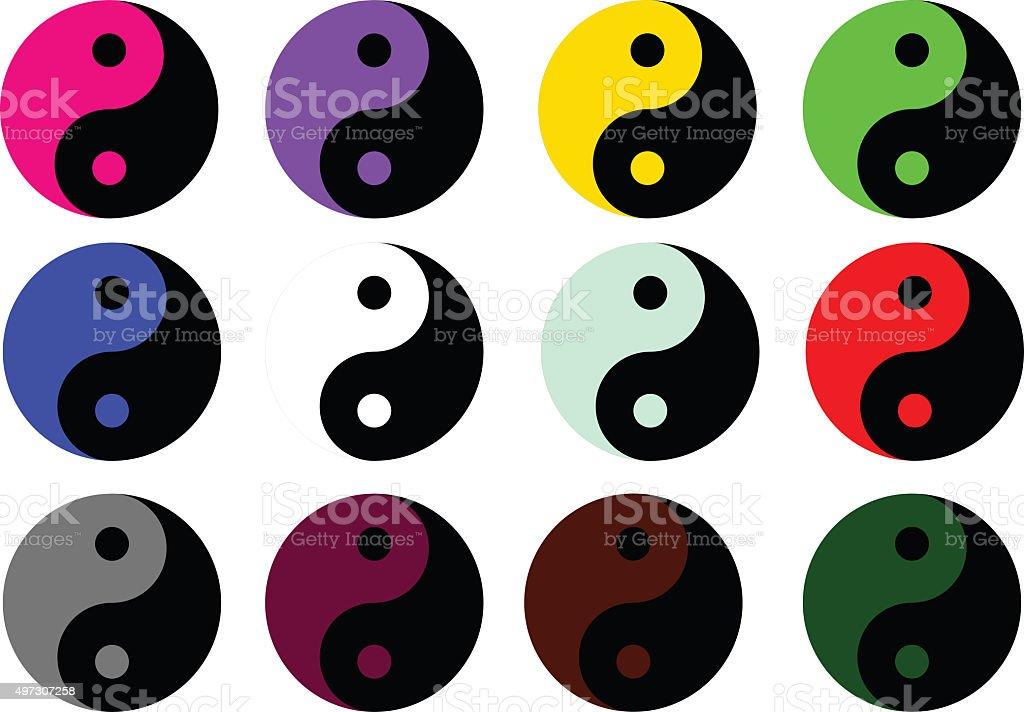Yin Yang colored symbol stock photo
