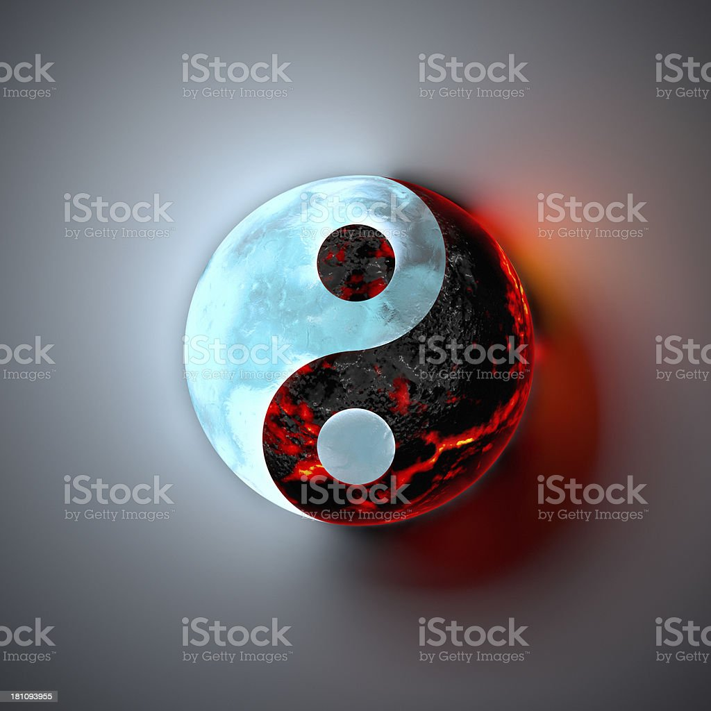 Yin Yang, Ice and Lava stock photo