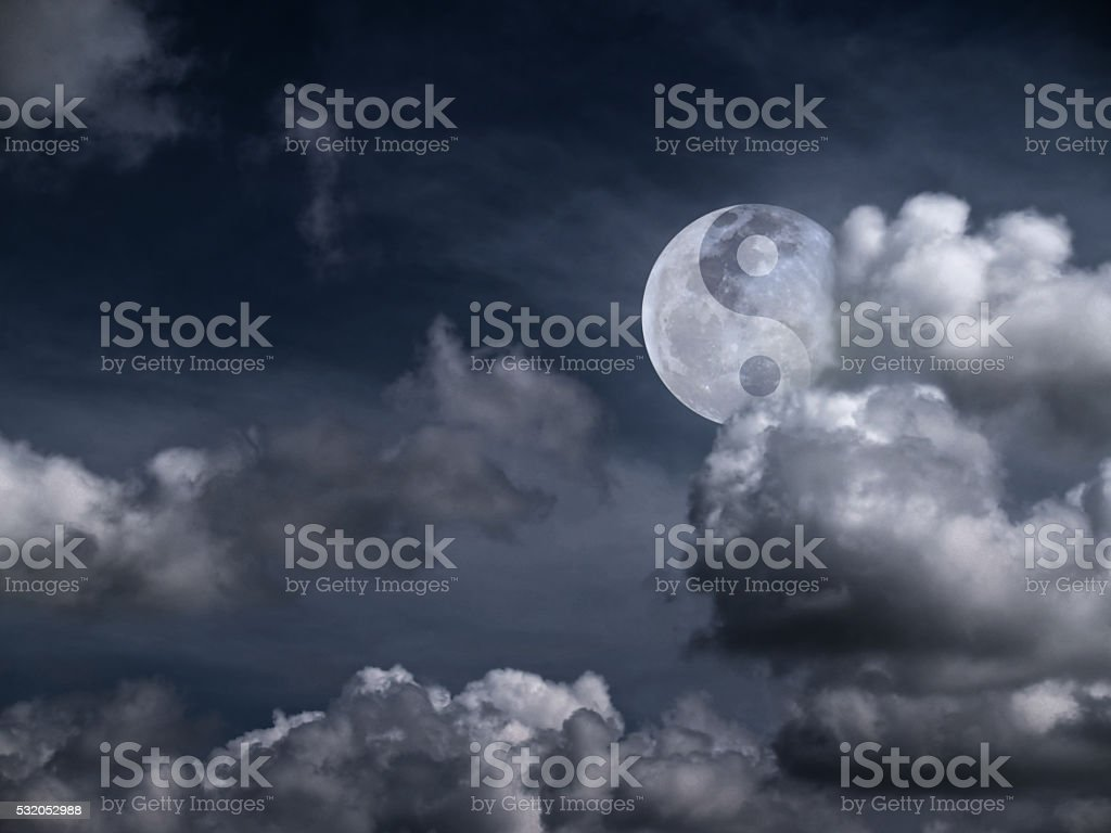 Yin Yang Moon stock photo