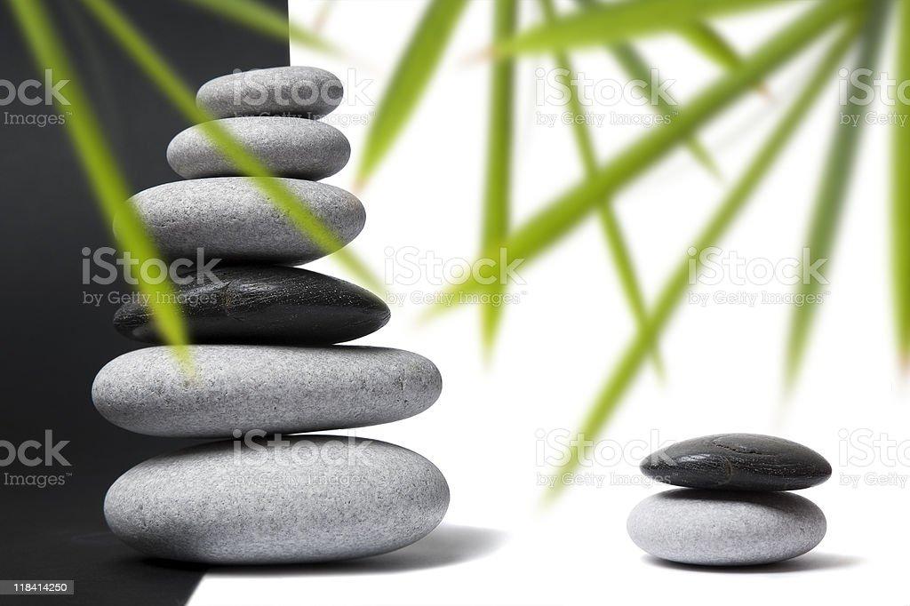 Yin Yang Pebbles and Bamboo royalty-free stock photo