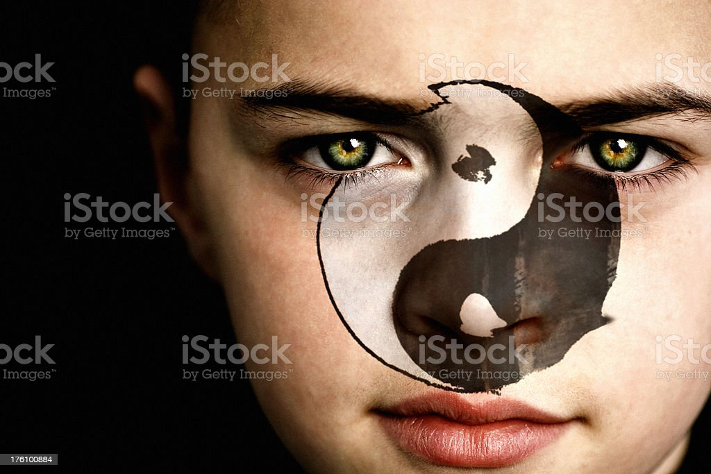 Yin Yang Symbol Boy royalty-free stock photo