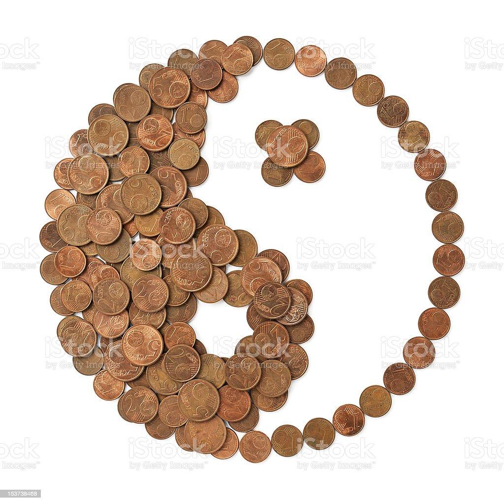 Yin Yang symbol made of money - harmony in finances royalty-free stock photo