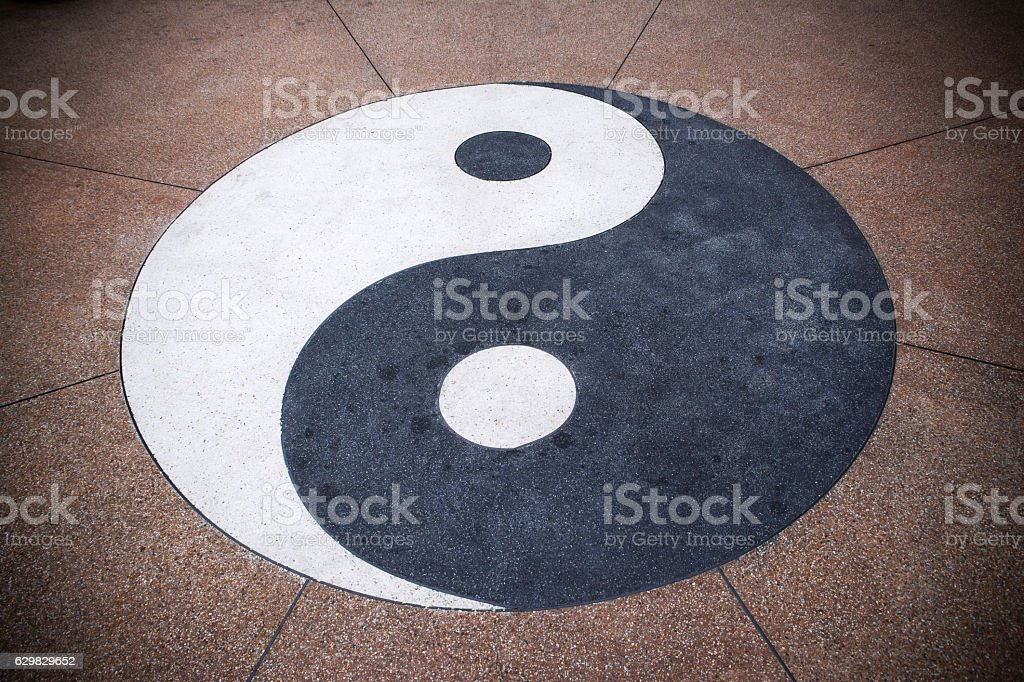 Yin yang symbol on concrete background.Yin yang texture background stock photo