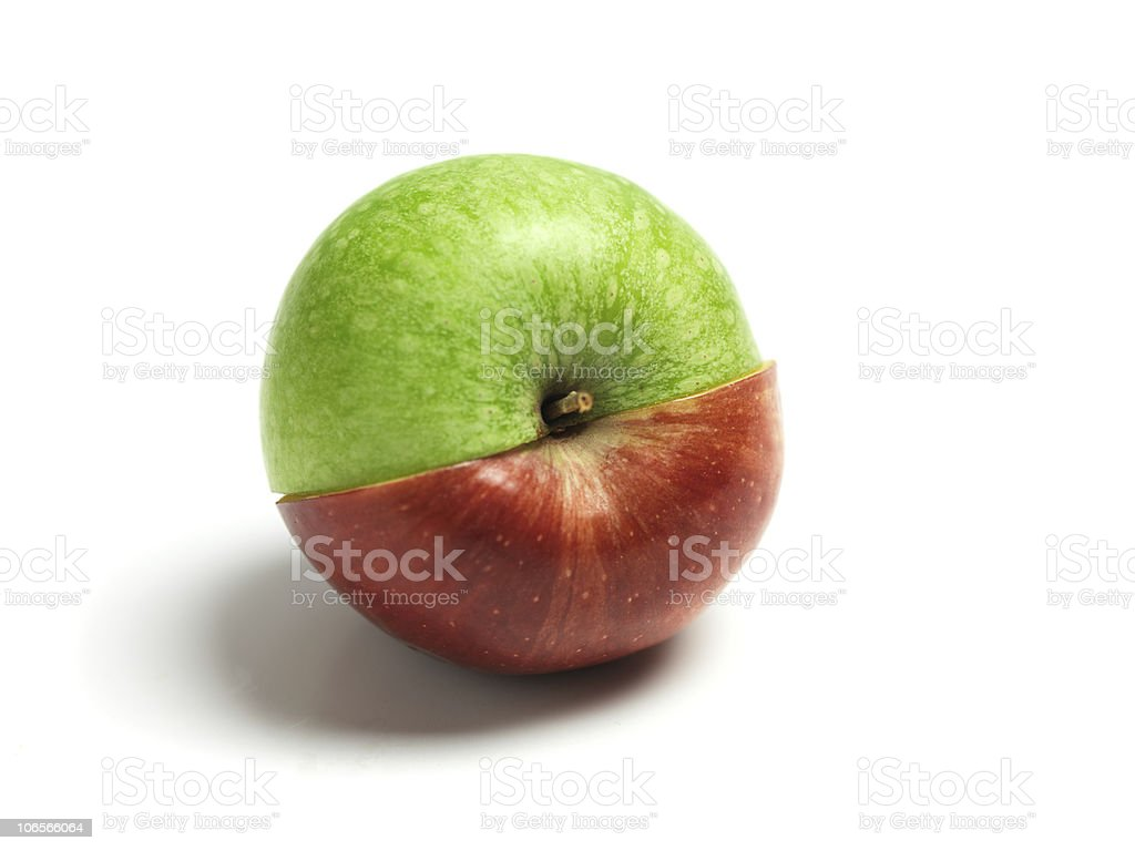 Ying and Yang apple royalty-free stock photo